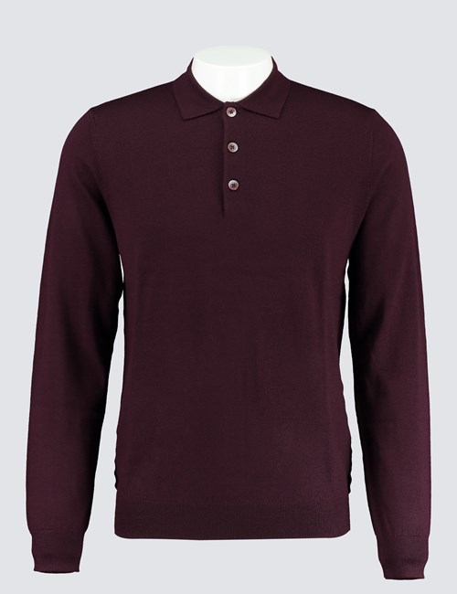 Men's Blackberry Polo Neck Merino Wool Jumper - Slim Fit