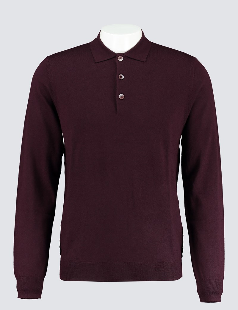 Men's Blackberry Polo Neck Merino Wool Jumper - Slim Fit