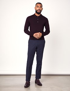 Men's Blackberry Polo Neck Merino Wool Sweater - Slim Fit