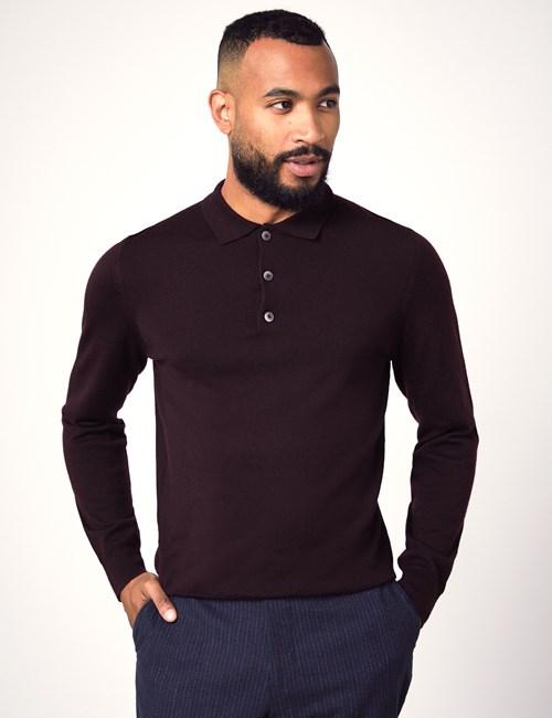 Men's Blackberry Polo Neck Merino Wool Sweater - Slim Fit