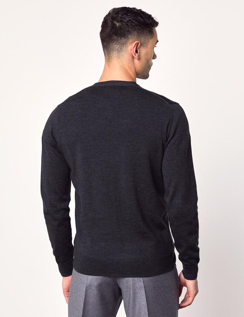 Men's Charcoal Merino Wool Cardigan - Slim Fit