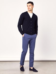 Men's Navy Merino Wool Cardigan - Slim Fit