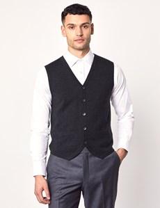Men's Charcoal Sleeveless Merino Wool Knitwear