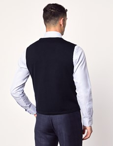 Men's Navy Sleeveless Merino Wool Knitwear