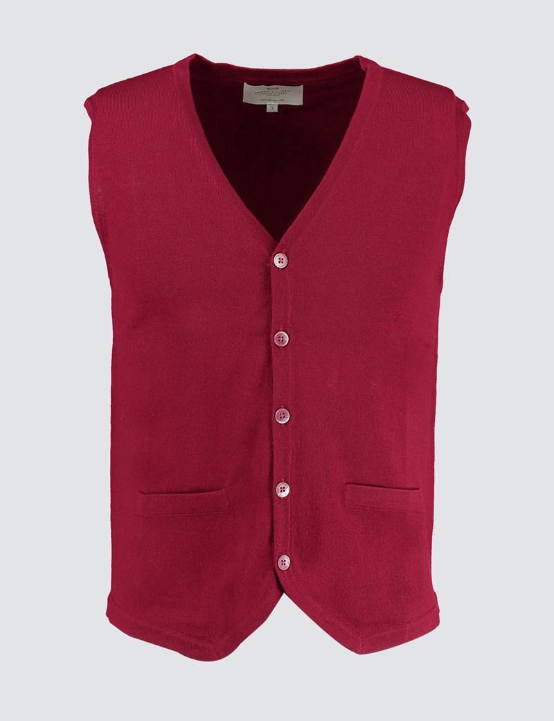 Men's Burgundy Sleeveless Merino Wool Jumper