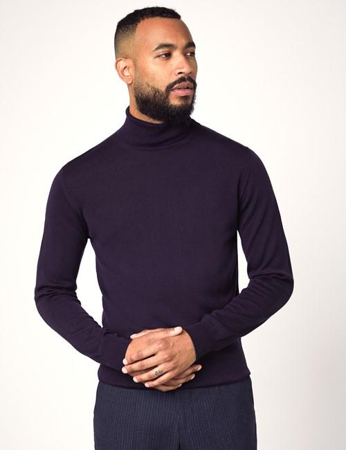 Men's Purple Roll Neck Merino Wool Sweater - Slim Fit