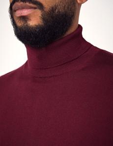 Men's Claret Roll Neck Merino Wool Sweater - Slim Fit