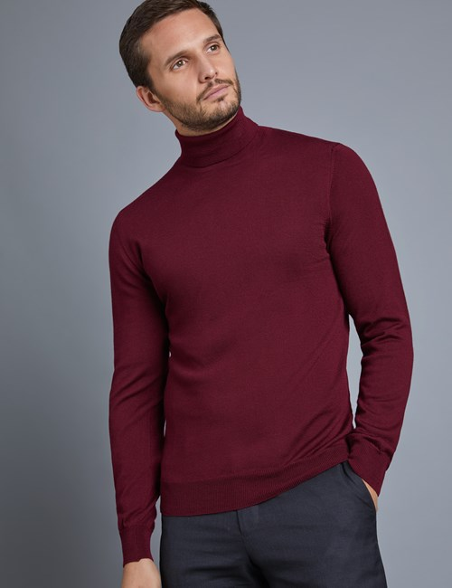 Men's Wine Roll Neck Merino Wool Jumper - Slim Fit