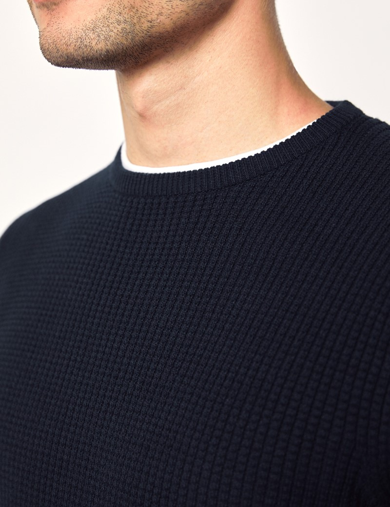 Men's Navy Waffle Cotton Knit Jumper