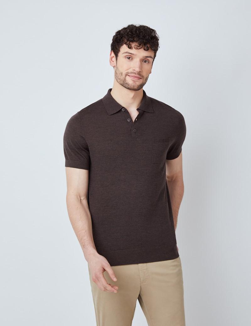 Brown Merino Wool Short Sleeve Polo Shirt
