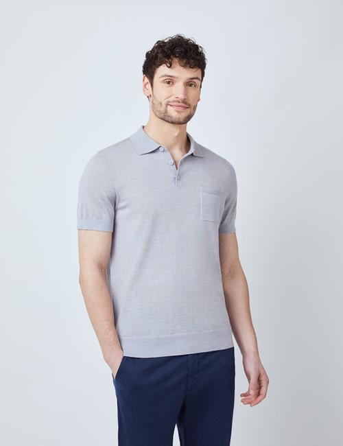 Grey Merino Wool Short Sleeve Polo Shirt