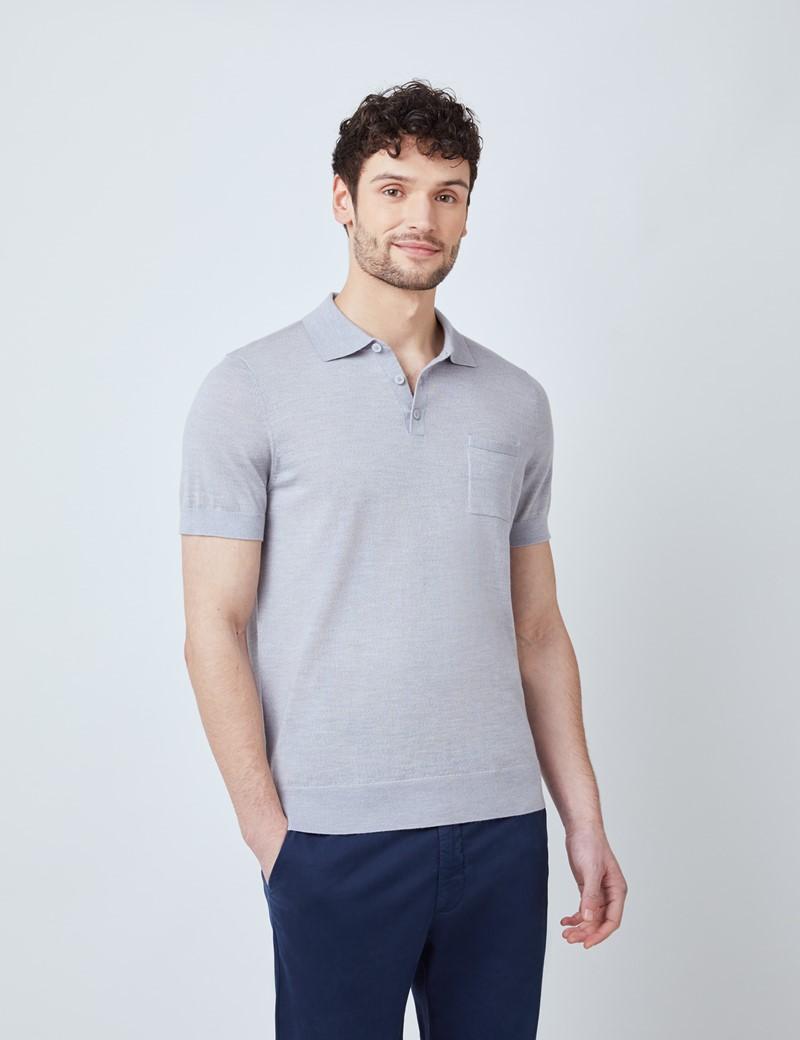 Kurzarm Poloshirt – Merinowolle – Grau