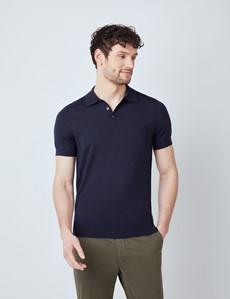 Deep Navy Merino Wool Short Sleeve Polo Shirt