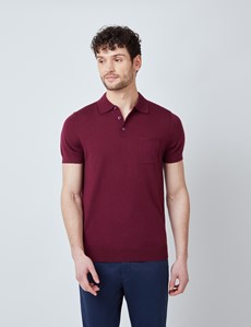 Wine Merino Wool Short Sleeve Polo Shirt