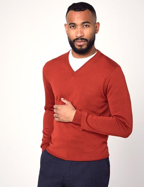 Men's Orange V-Neck Merino Wool Sweater - Slim Fit