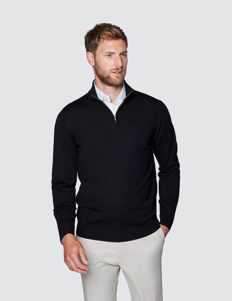 Men's Black Fine Merino Wool Zip Neck Jumper