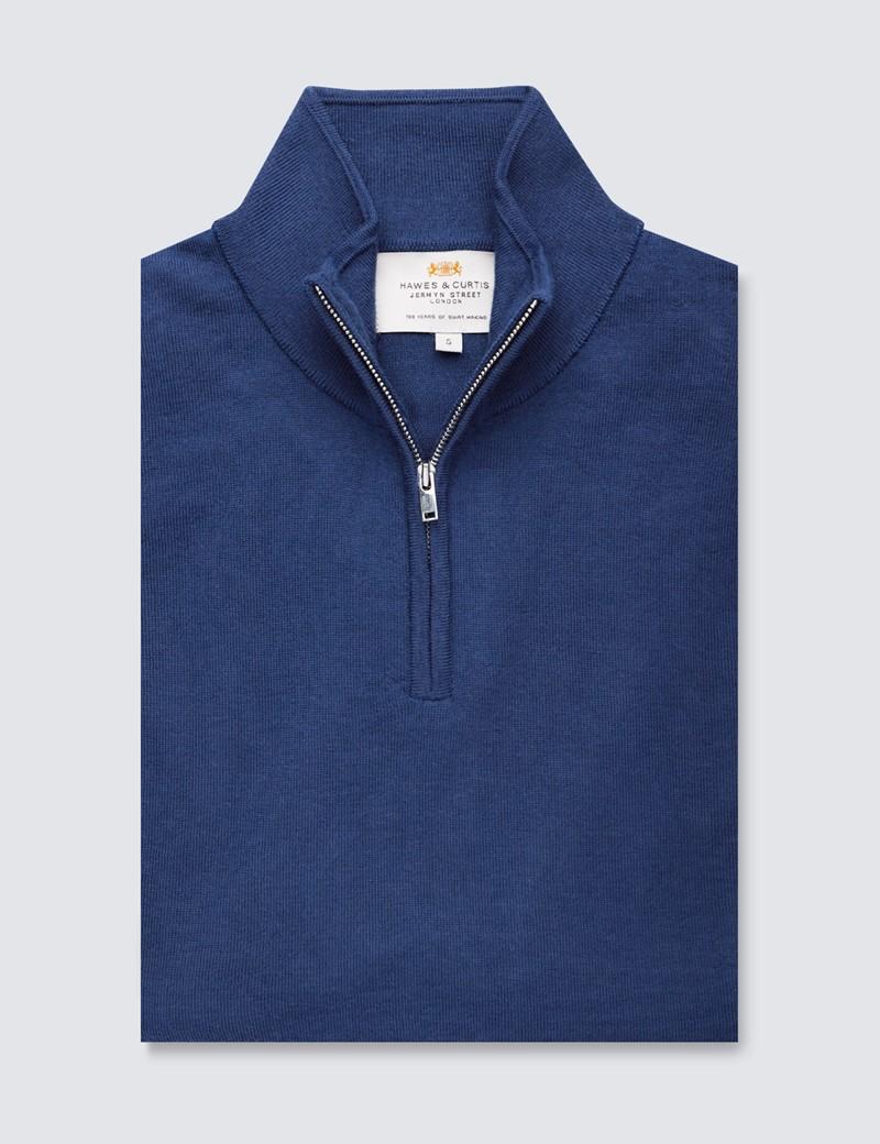 Men's Airforce Blue Fine Merino Wool Zip Neck Jumper