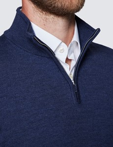 Men's Dark Blue Fine Merino Wool Zip Neck Jumper