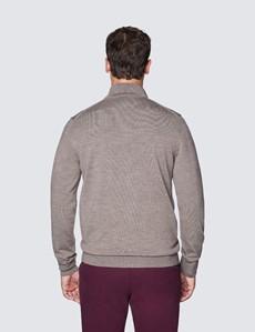 Men's Taupe Fine Merino Wool Zip Neck Jumper