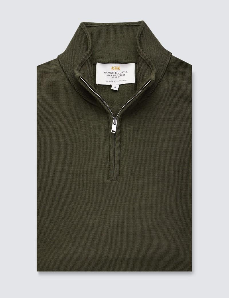 Men's Khaki Fine Merino Wool Zip Neck Jumper