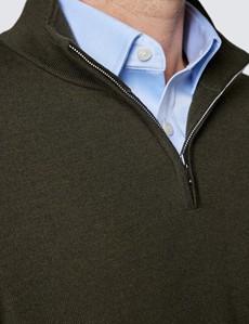 Men's Dark Olive Fine Merino Wool Zip Neck Jumper