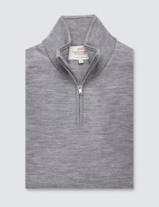 Men's Grey Fine Merino Wool Zip Neck Jumper