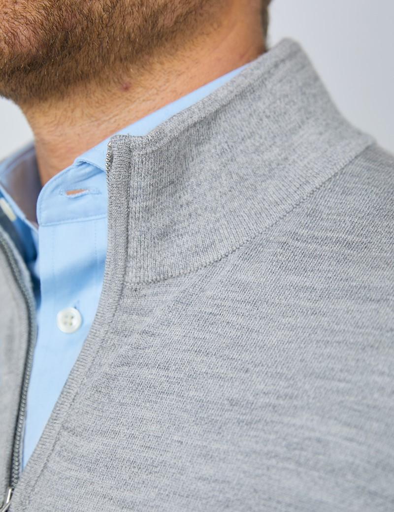 Men's Mid Grey Fine Merino Wool Zip Neck Jumper