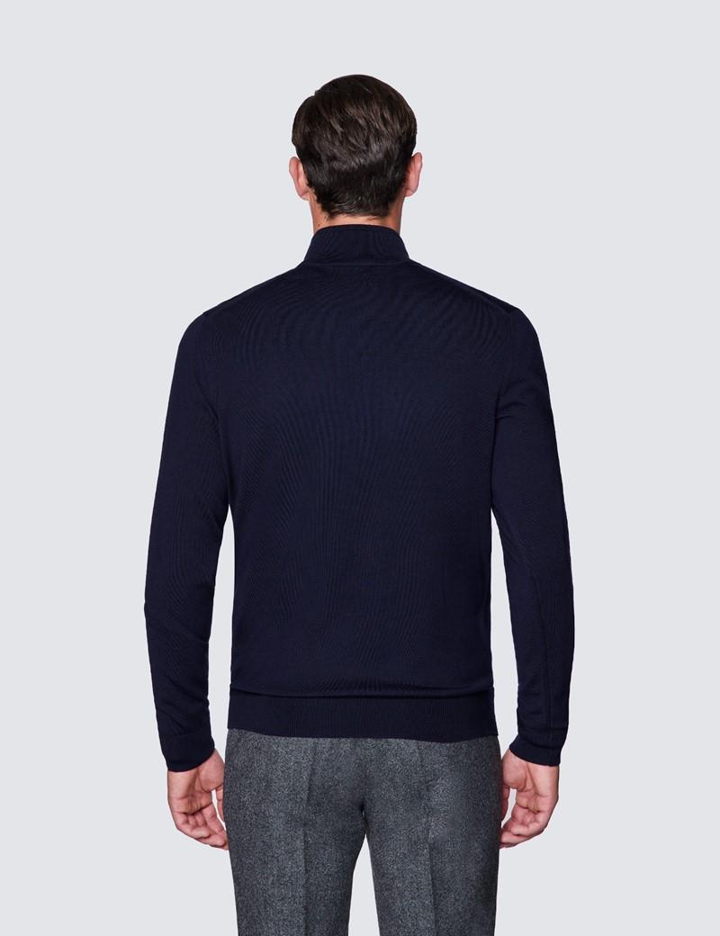Men's Navy Fine Merino Wool Zip Neck Jumper