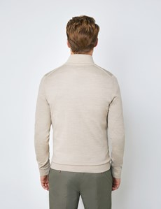 Men's Stone Fine Merino Wool Zip Neck Jumper