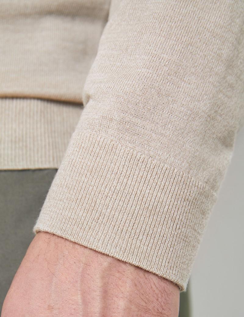 Men's Stone Fine Merino Wool Zip Neck Jumper