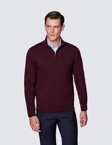 Men's Claret Fine Merino Wool Zip Neck Jumper