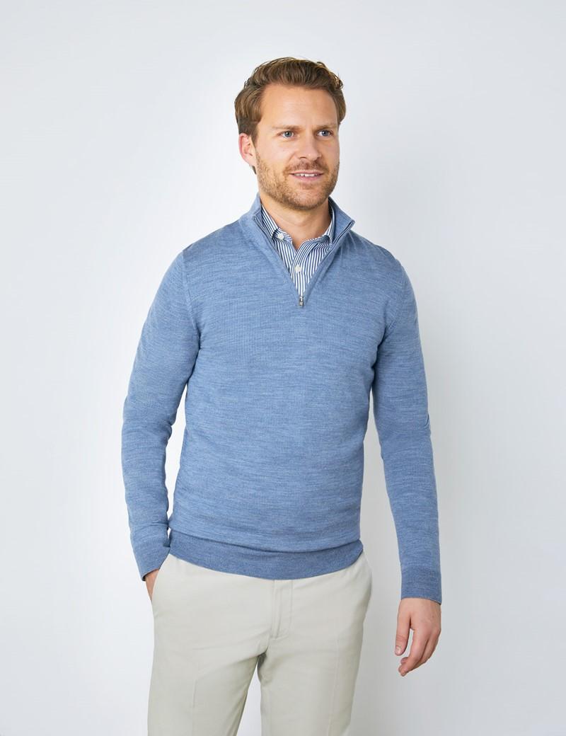 Men's Blue Fine Merino Wool Zip Neck Sweater