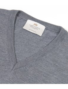 Men's Grey Slim Fit V-Neck Merino Wool Jumper