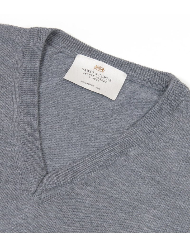 Men's Grey Slim Fit V Neck Merino Wool Jumper