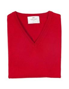 Men's Red Slim Fit V-Neck Merino Wool Jumper