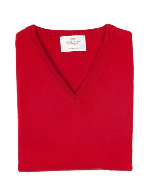 Men's Red Slim Fit V-Neck Merino Wool Jumper