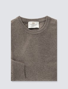 Cappuccino Italian Cashmere Wool Mix Crew Neck Jumper
