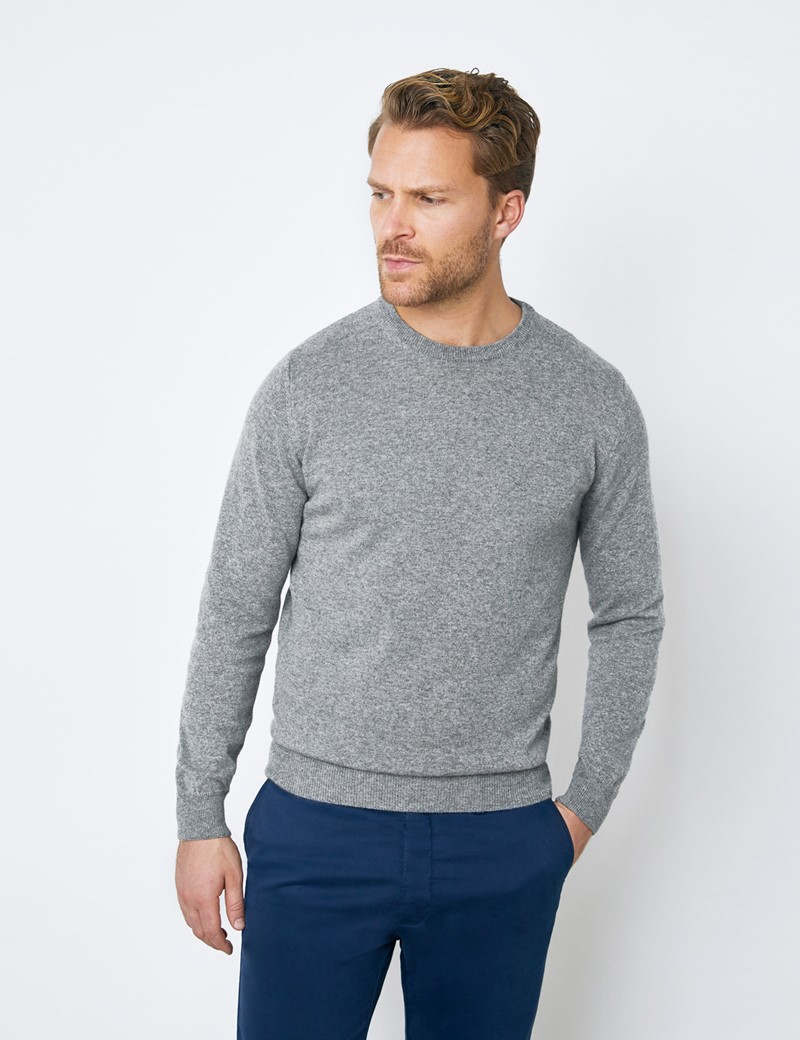 Grey Italian Cashmere Wool Mix Crew Neck Sweater