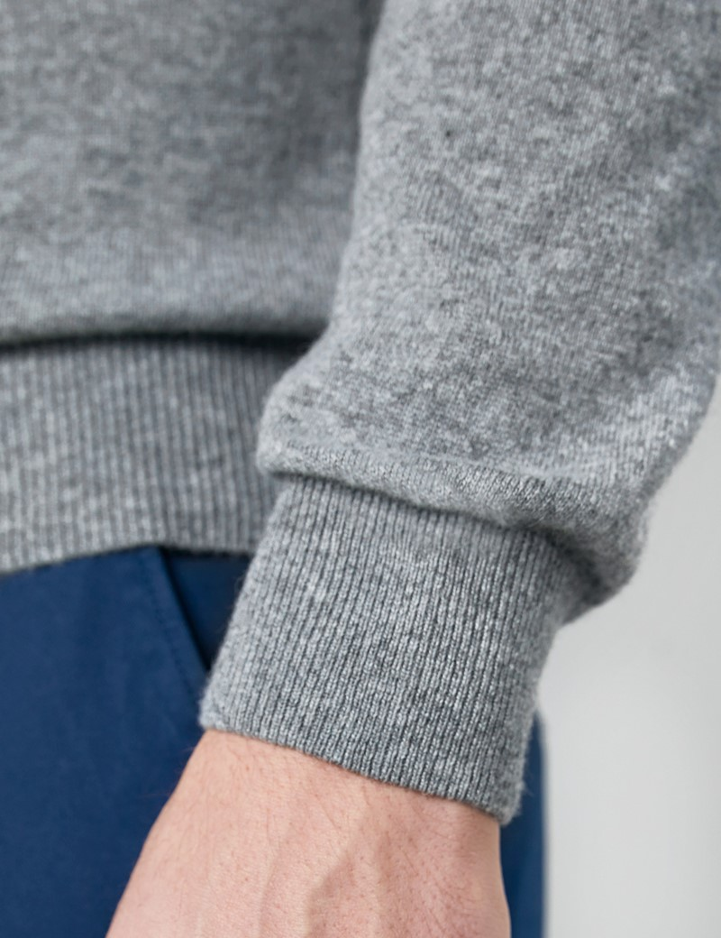Grey Italian Cashmere Wool Mix Crew Neck Jumper