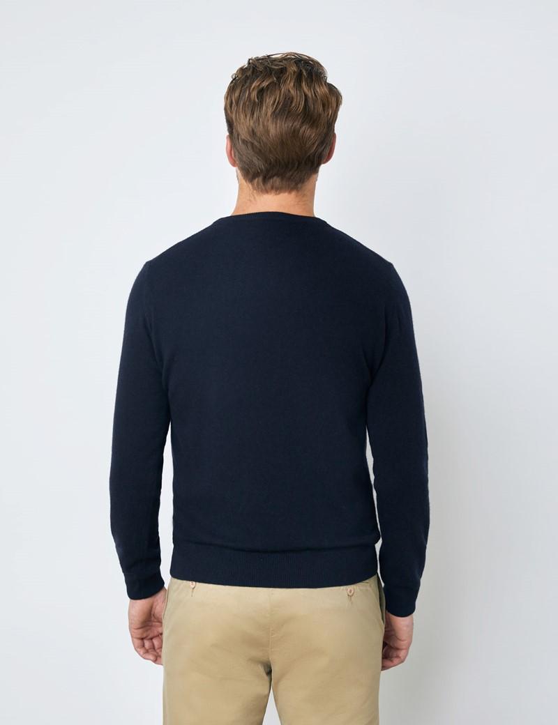 Navy Italian Cashmere Wool Mix Crew Neck Sweater