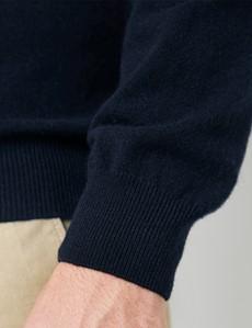 Navy Italian Cashmere Wool Mix Crew Neck Jumper