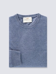 Denim Italian Cashmere Wool Mix Crew Neck Sweater