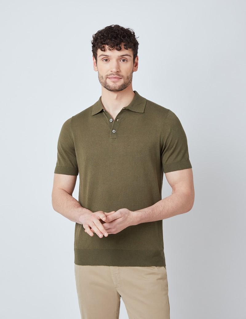 Men's Olive Linen Cotton Mix Polo Shirt