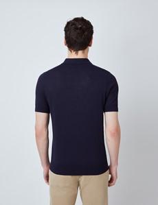 Men's Navy Linen Cotton Mix Polo Shirt