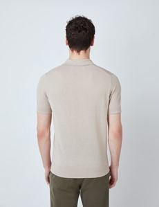 Kurzarm Poloshirt – Slim Fit – Leinen-Mix – Beige