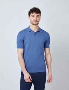 Men's Denim Linen Cotton Mix Polo Shirt