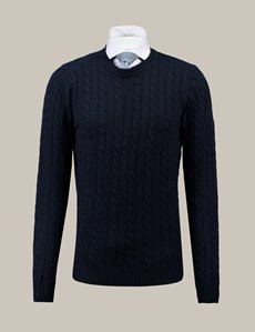 Men's Navy Cable Knit Wool & Cashmere Jumper