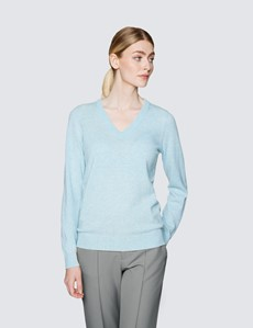 Women's Mint Wool Cashmere V-Neck Jumper