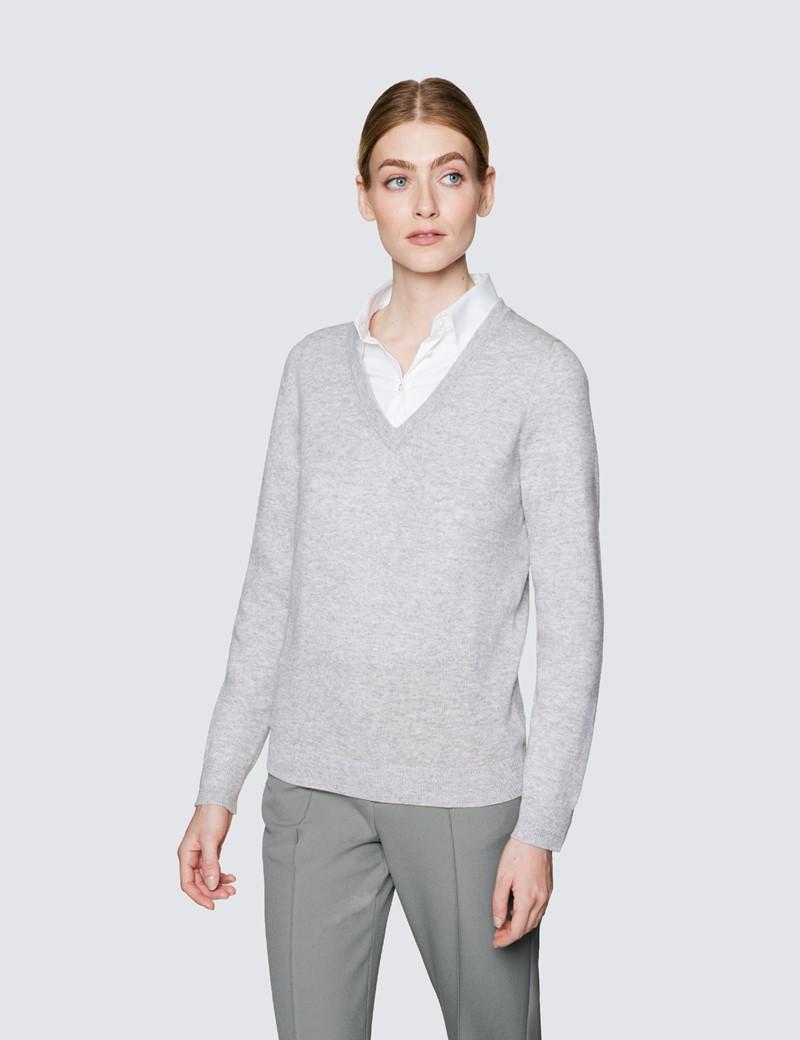 Women's Light Grey Wool Cashmere V-Neck Jumper