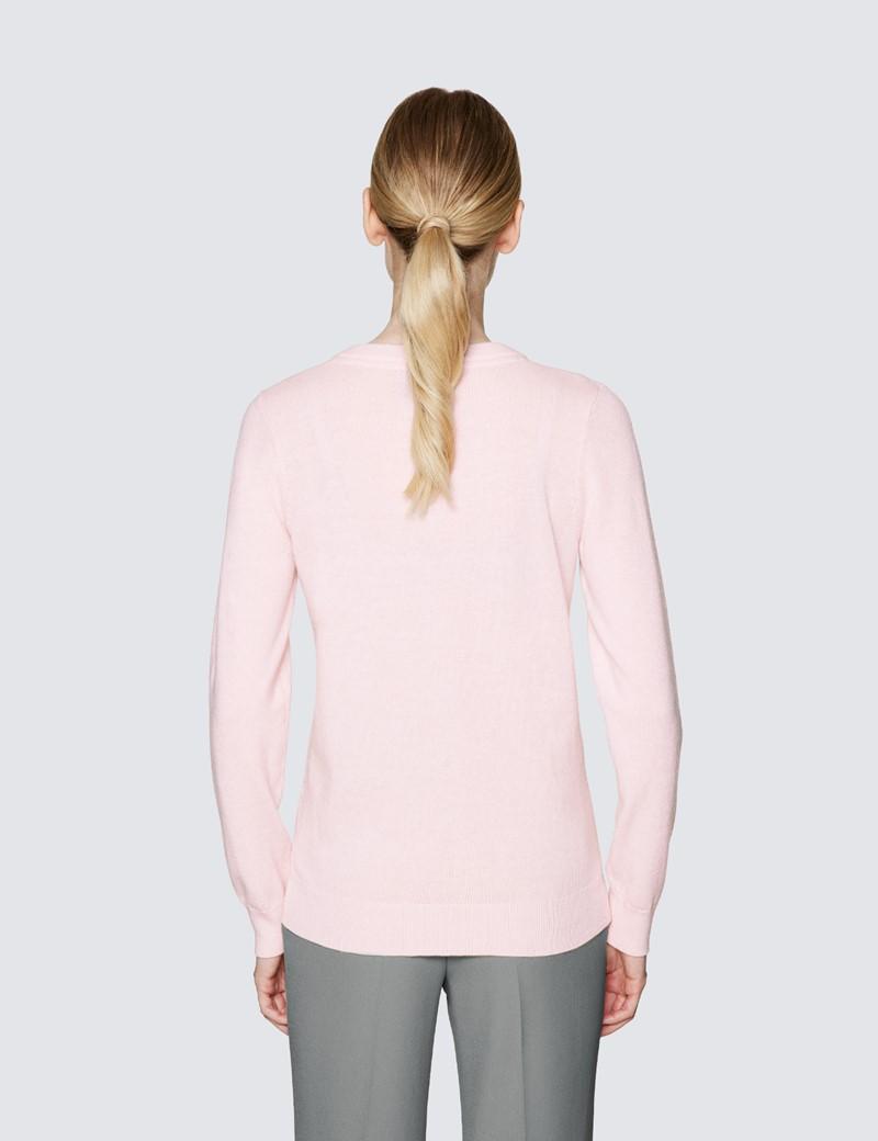 Women's Light Pink Wool Cashmere V-Neck Jumper